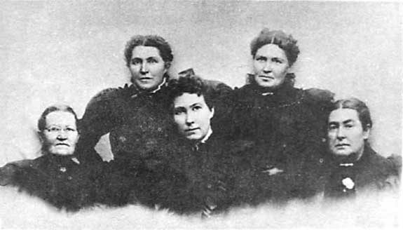 The five daughters of George and Ann Jarvis:  Ann, Margaret,  			Josephine, Emmaline, and Amelia.