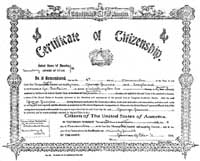 George Jarvis' Certificate of Citizenship