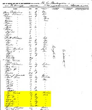 Jarvis 1857 immigration record